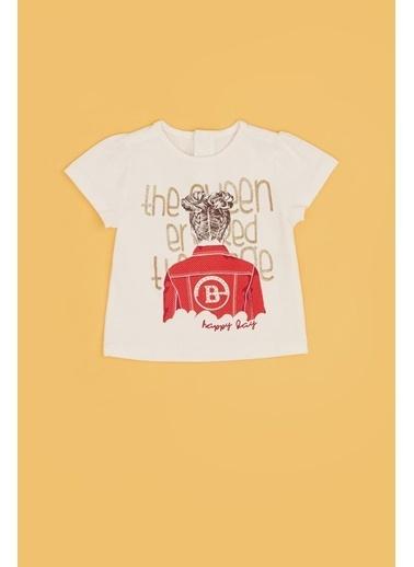 BG Baby Kız Bebek Ekru T-Shirt 20Pfwbg2506 Ekru